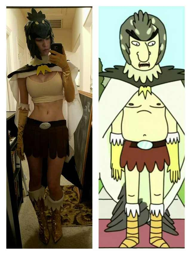 Sexy Bird Person cosplay (Rick and Morty)