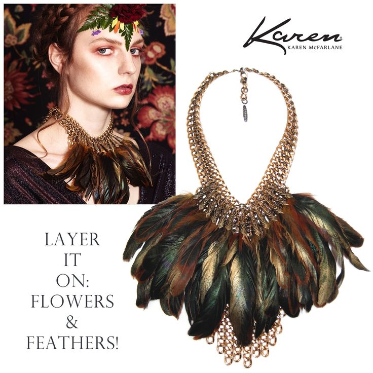 Layer It On: Flowers & Feathers! Necklace By Karen McFarlane (#984n) Photo: Ryan McCoy MUAH: Irina Badescu Styling: The Fashion Conspiracy Model: Red, Spot 6 Management Image may contain: 1 person