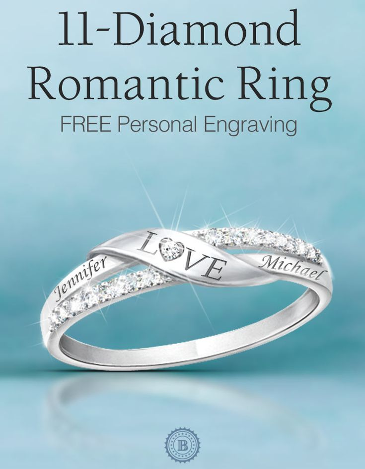 Eleven genuine diamonds make this loving couples ring really sparkle, perfectly complemented with your 2 engraved names (which you can add for free).