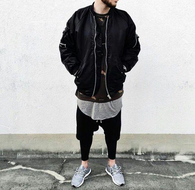 Black Bomber over Yeezus and scoop tee / Ultra Boost