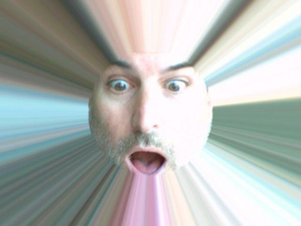 stevie goofing with Photo Booth light tunnel ☺