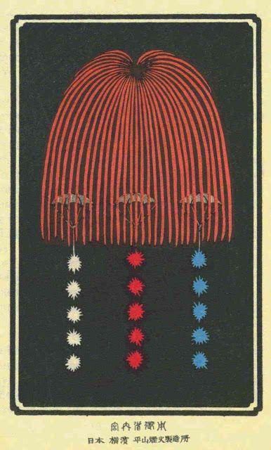 fireworks vintage japanese print
