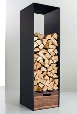Wood storage, with room for kindling at the bottom