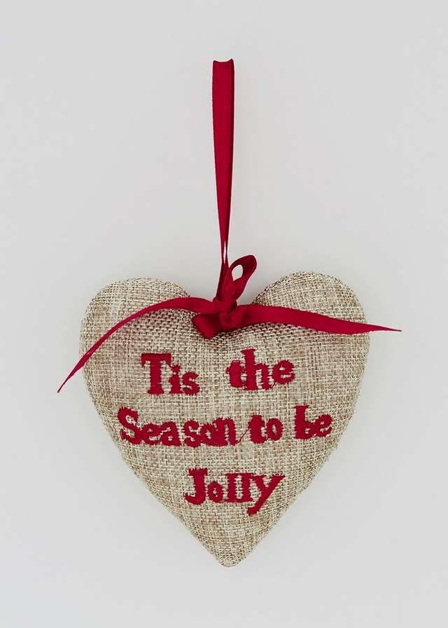 Christmas Heart text Tree Decoration (11cm x 4cm x 11cm) View 1