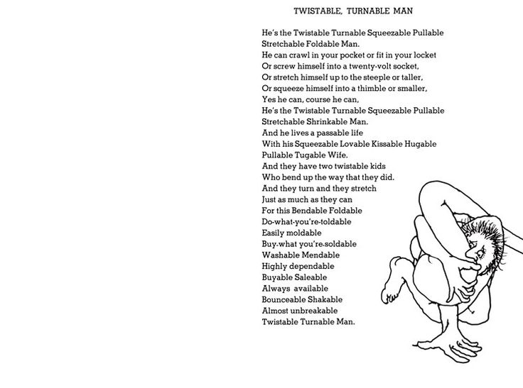 Shel Silverstein Poems About Love: Twistable, Turnable Man (740×550
