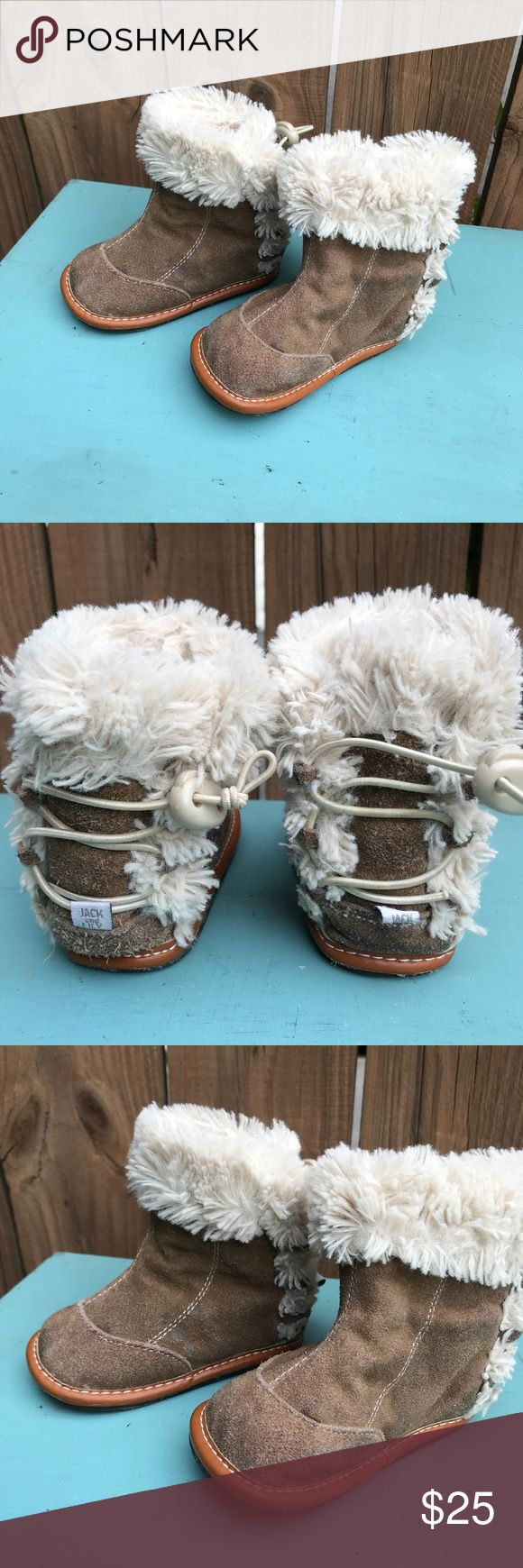 """Jack and Lily boots Jack and Lily suede and cotton ankle booties Some spots on the suede Please See pictures Tag says 12-18 Outside sole measures 5 1/2 """" heel to toe. Adjustable straps to tighten bootie Except for slight spots on bootie really good condition Jack and Lily Shoes Boots"""
