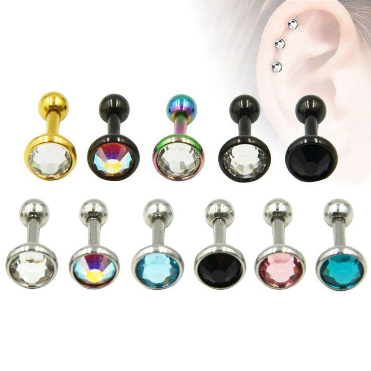 Stainless Steel Anodized Ear Cartilage Stud Earring Tragus CZ Gem Body Piercing Helix Jewelry