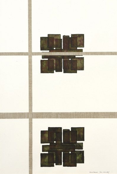Henri Maccheroni (1932-2016), Archéologies bronze : l'Espace Malévitch, aquarelle et encre de Chine, 55 x 38 cm.  Mise à prix : 400 € Samedi 4 mars, salle 1 - Drouot-Richelieu.  Leclère Maison de ventes OVV. M. Ottavi.