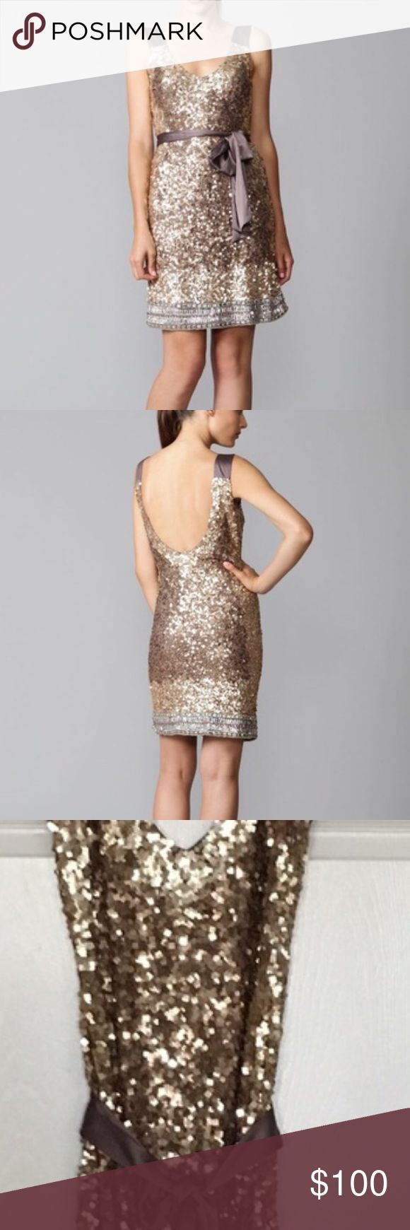Sequin shift dress, backless Mark + James by Bagdley Mischka. Worn once. Bust: 36 in. Waist: 30in. Hem: 36 in. Great for wedding season! Badgley Mischka Dresses Backless