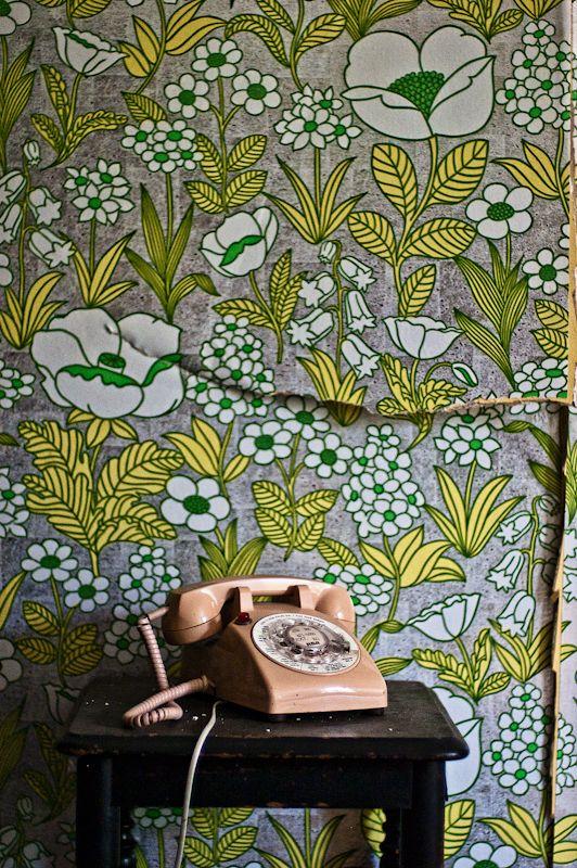 wallpaper. yellow green grey blooms