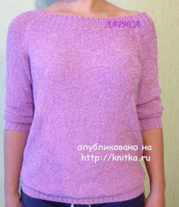 Элегантный пуловер спицами с вырезом лодочка. Работа Ларисы Величко. Вязание спицами.