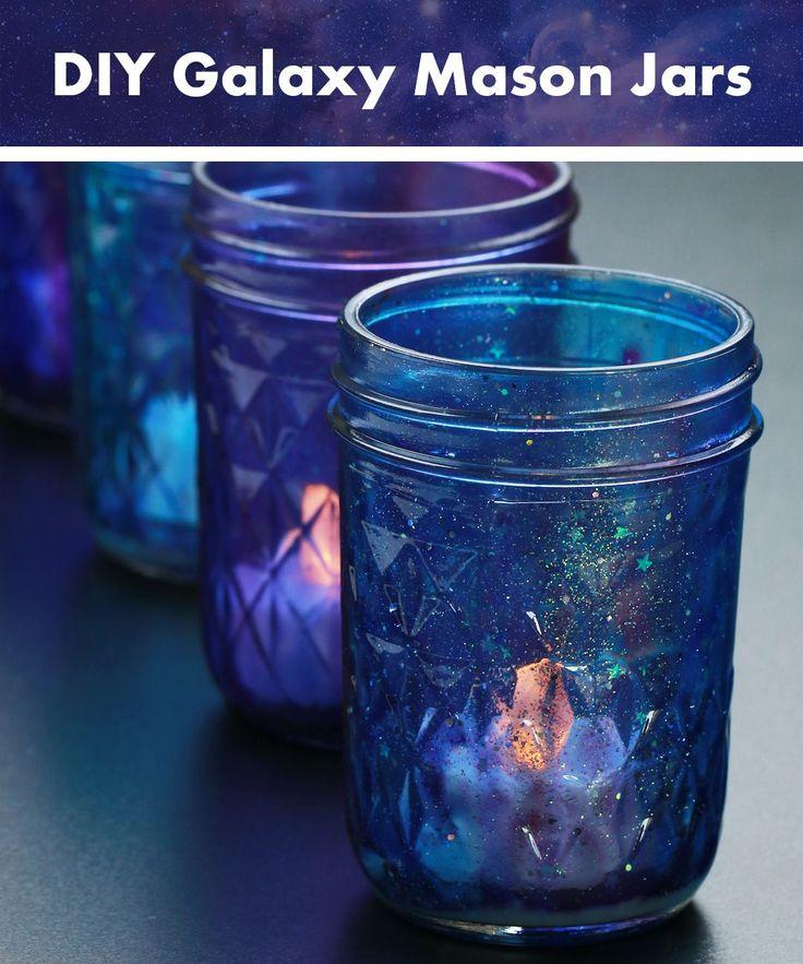~galaxy mason jars~ paint glue glitter stars false candle light space lantern glass jar
