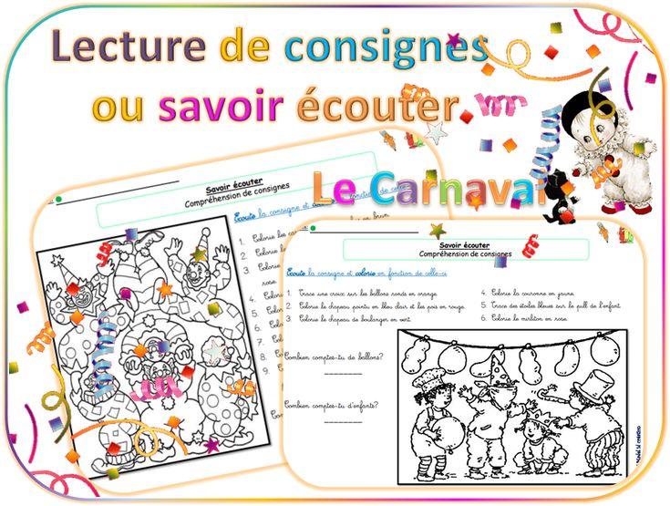Carnaval: savoir écouter et lecture de consignes - dys é moi Zazou et Madel