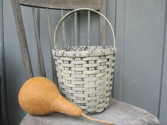 Primitive Painted Handwoven Basket by 1803ohiofarmbaskets on Etsy, $35.00