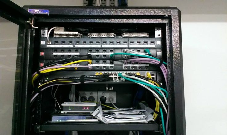 Color coded patching, lightning protection top left with a router, switch and VoIP server for phones and intercoms.