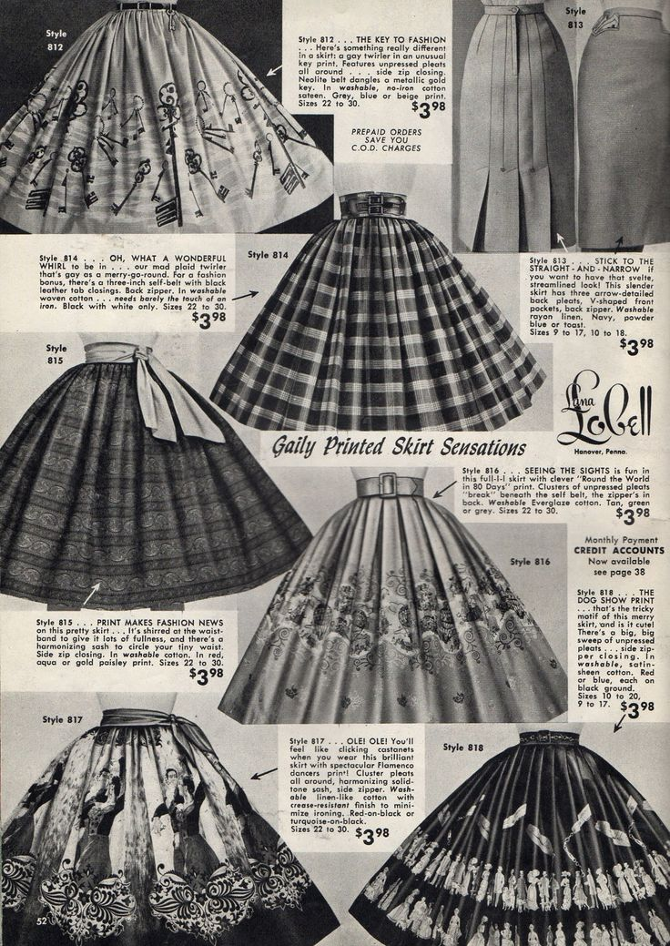 Skirts, many with fabulous novelty prints, from Lana Lobell 1958.