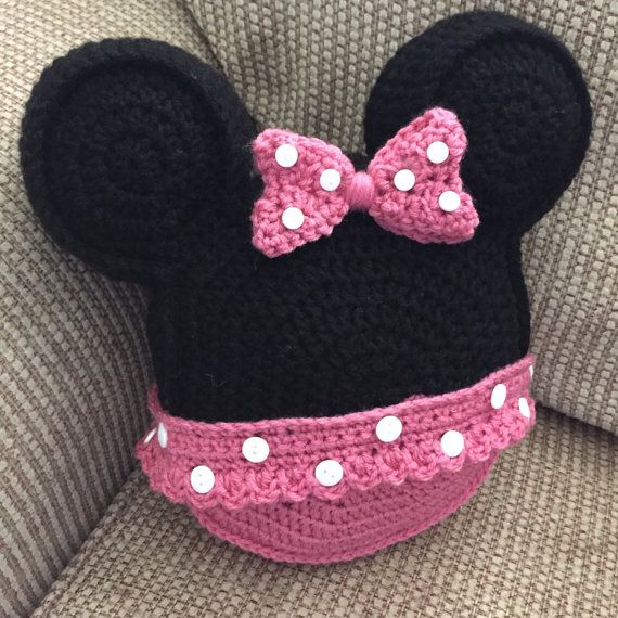 Made to order Crochet pillow Minnie Mouse inspired icon mouse ears toss pillow…