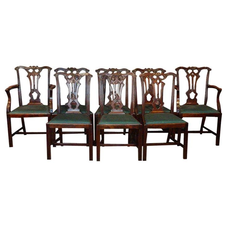 Set of 8 Chippendale Style Dining Chairs For Sale at ...