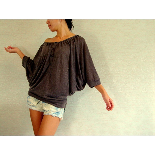 Oversized off shoulder batwing sleeve top, chocolate brown top... ($30) ❤ liked on Polyvore