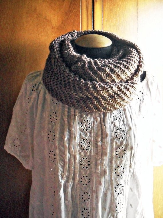 Cowl shawl infinity scarf wool and silk brown by lazydesigner