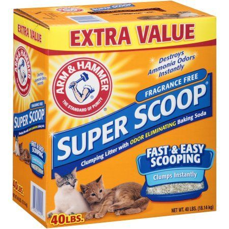 Arm & Hammer Super Scoop Clumping Litter, Unscented, 40-Pound, Multicolor
