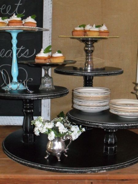 Shabby Chic Wedding, Vintage Inspired Cake and Cupcake Stand, Pie, Candy Bar Display, Outdoor Wedding, Farm, Country