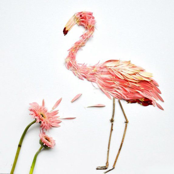 Birds made with flower by Red Hong Yi