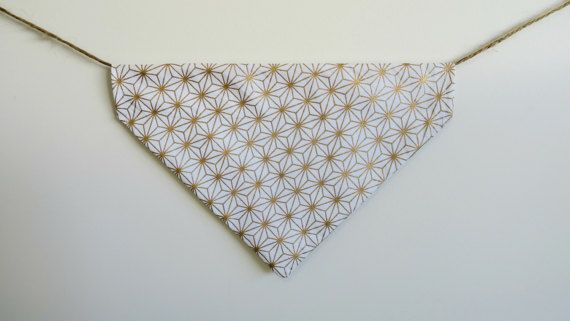 Gold and white dog bandana  over the collar by PawsitiveShopping