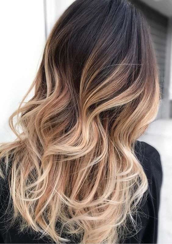 Natural balayage ombre hair highlights for long haircuts 2017-2018.