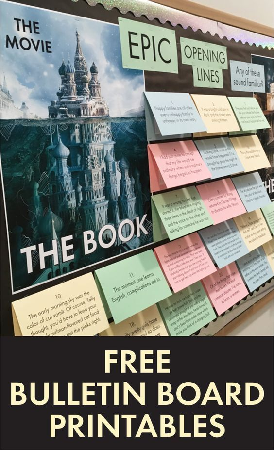FREE bulletin board supplies for library and English classroom show #highsch…