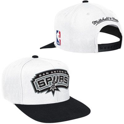 Mens San Antonio Spurs Mitchell & Ness White Current XL Logo 2 Tone Adjustable Hat