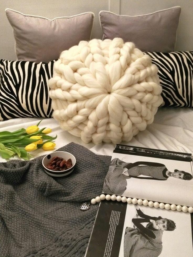 Soft and cozy ecru merino pillow