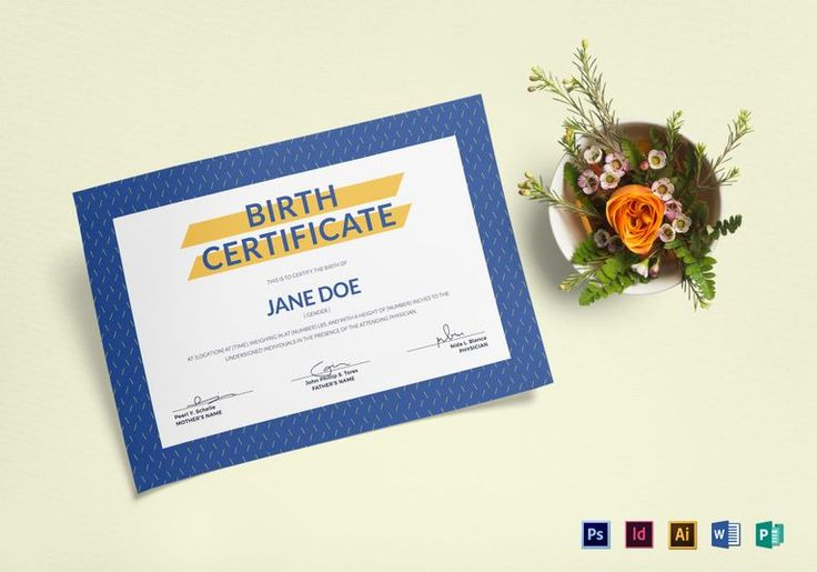 Blue Birth Certificate Template  $12  Formats Included : Illustrator, Photoshop, InDesign, MS Word, Publisher  File Size : 11.69x8.26 Inchs #Certificates #Certificatedesigns #Kidscertificates