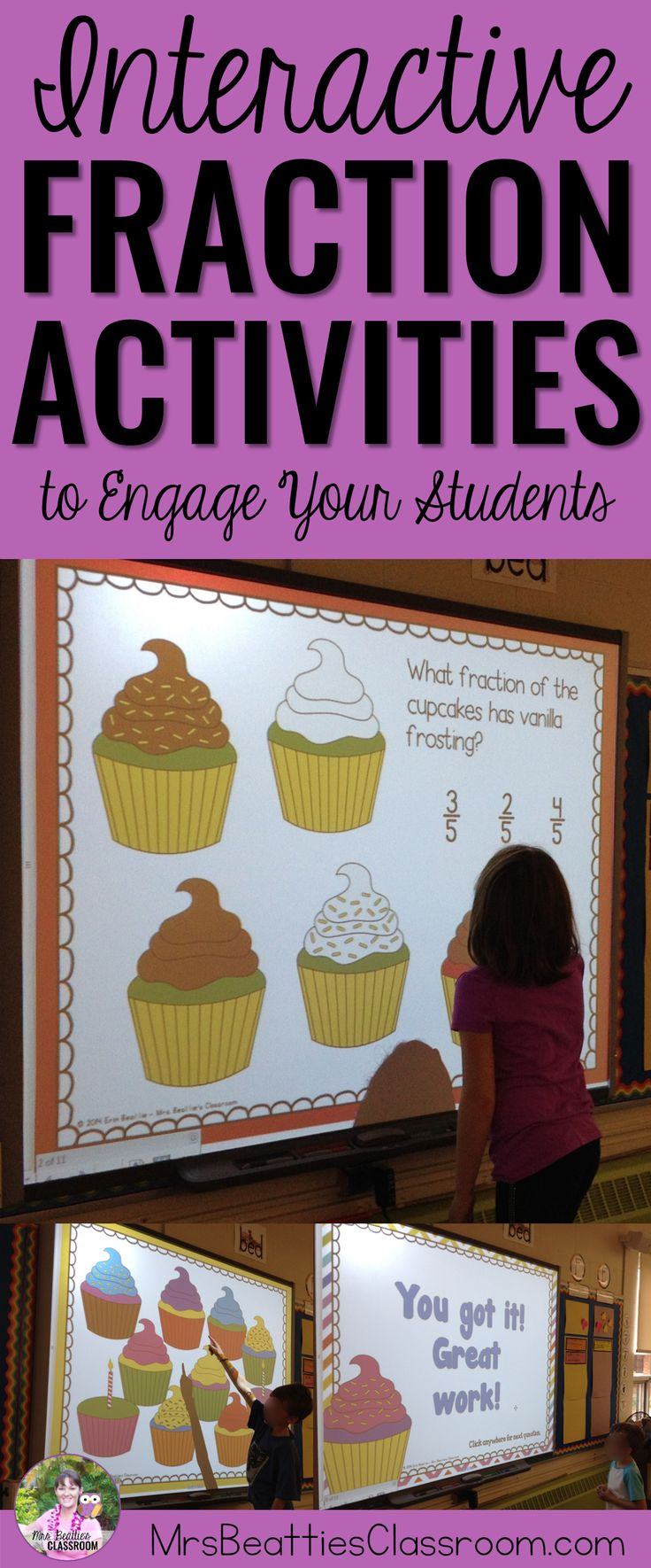 These fun, interactive fractions activities are perfect for my 3rd grade students learning about fractions of a set. ItiIncludes an interactive SMART Board file and follow-up worksheets that make learning fun!