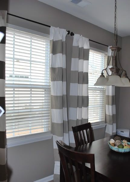 Benjamin Moore Brandon Beige Wall Color And The Striped Curtains