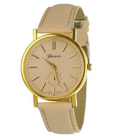 ABC-Womens-Ladies-Geneva-Womens-Analog-Display-Quartz-Wrist-Watch-Beige-0
