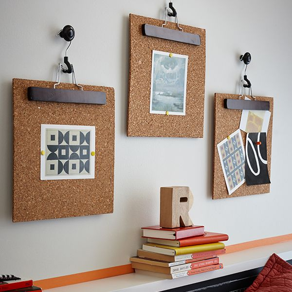 Swap out seasonal artwork with painted hangers and corkboard backgrounds.