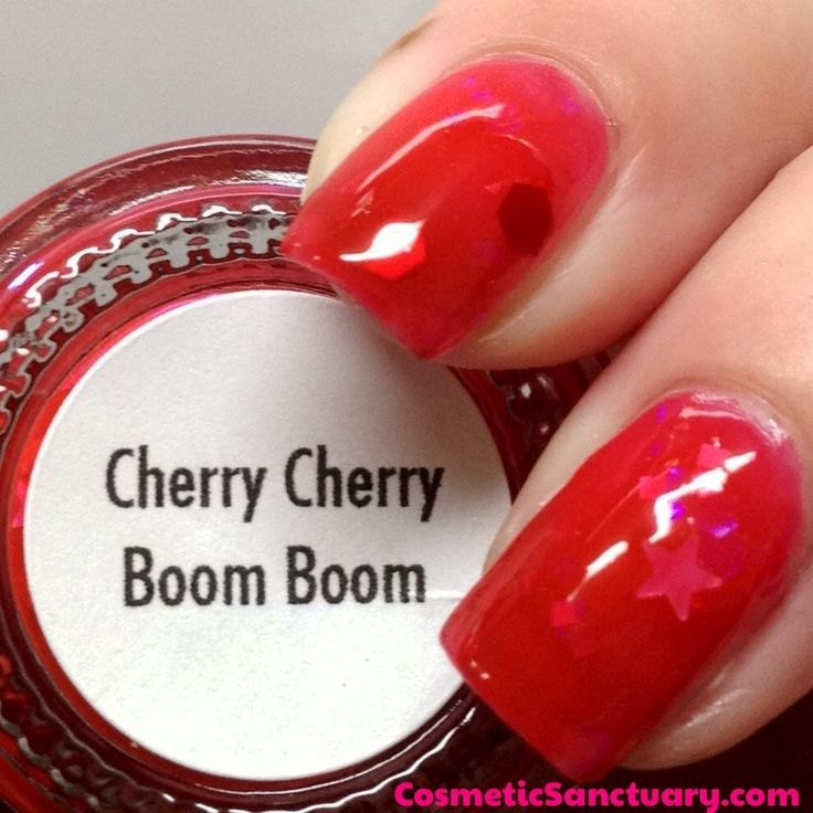 Girly Bits Cherry Cherry Boom Boom Swatch - Cosmetic Sanctuary; Brand: Girly Bits, Name: Cherry Cherry Boom Boom, Collection: Concert Series, Color: Red, Shade: Bright, Finish: Jelly, Type: Glitter