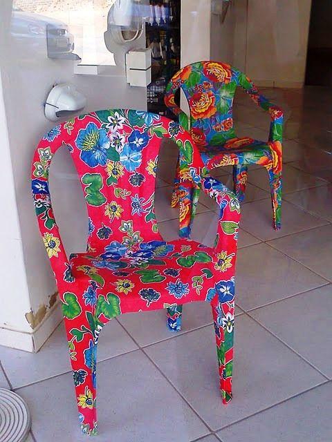 Customização de cadeiras plásticas com tecidos - Artesanato na Rede