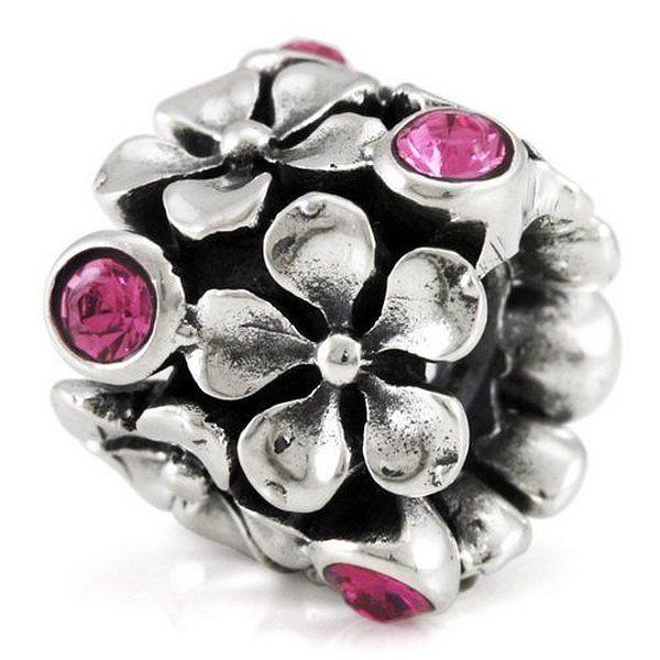 Blüten mit rosa Kristallen - 925 Sterling Silber Bead mit Gewinde