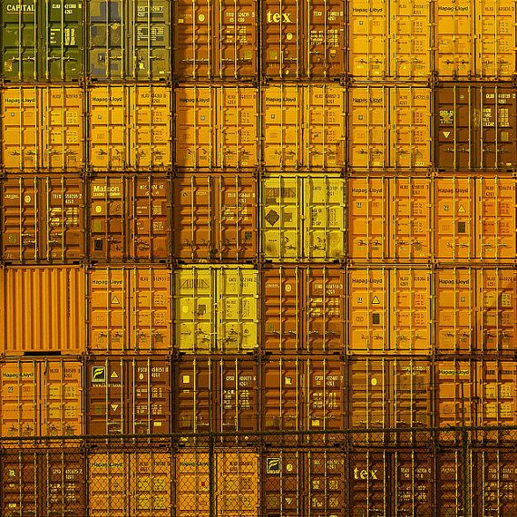 Containers stacked in Port of Rotterdam Photography by Ed van der Hoek available on etsy