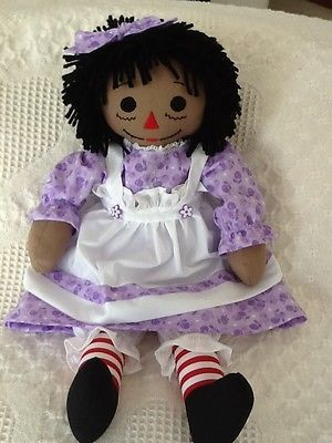 Handmade Black Raggedy Ann doll, purple print dress
