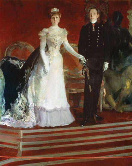 RETRATO DEL REY ALFONSO XIII DE ESPAÑA Y SU MADRE LA REINA MARÍA CRISTINA - JOAQUIN SOROLLA