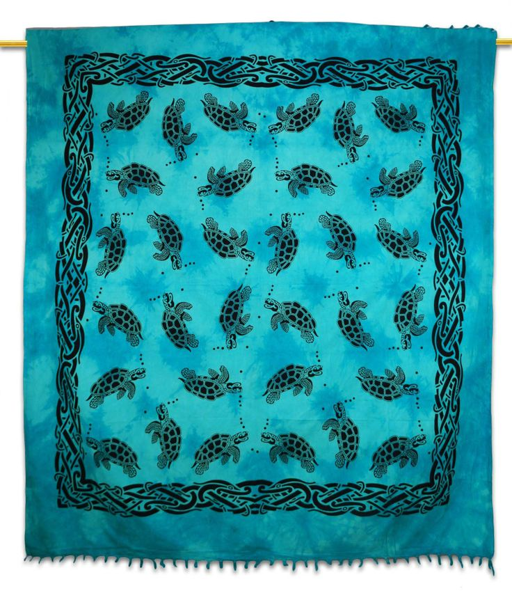Beautiful Indian Screen Printed Cotton Turtle Printed  Tapestry or Bed Cover in Twin Size. ..this is img