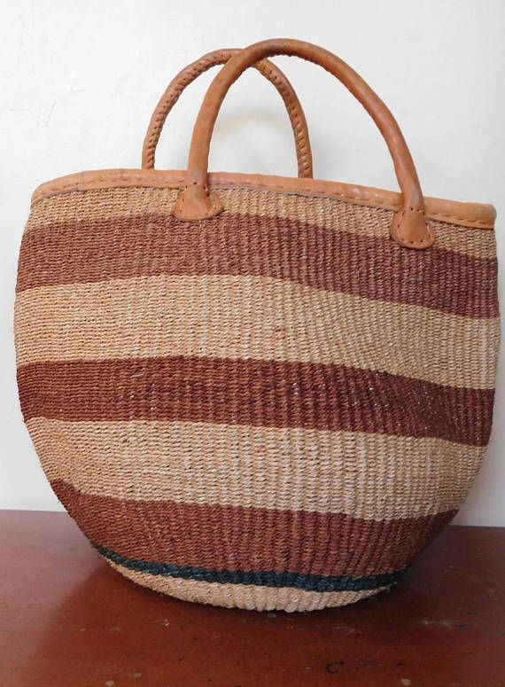 Brown Sisal Bag With Leather Handles Handmade Woven Kiondo African Ethnic Market Ping Tote