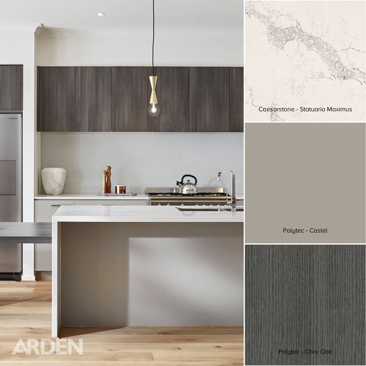 Arden Homes Beaumont 43 Berwick Waters display home.   Colour swatches:  Caesarstone Statuario Maximus.  Polytec: Castel & Char Oak.   Location: Tallrush Street, Clyde North.