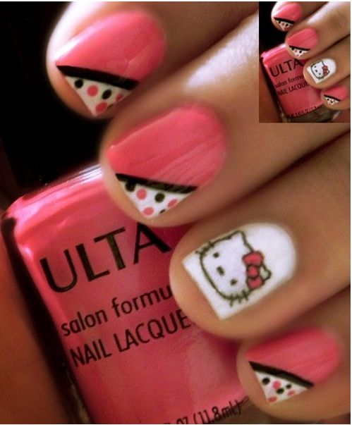 65 best hello kitty nails images on pinterest hello kitty nails this is reallly cute hello kitty nail art stickers prinsesfo Image collections