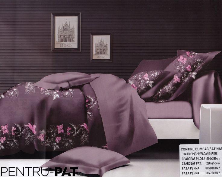 Lenjerie de pat bumbac dublu satinat Pucioasa mov cu model floral