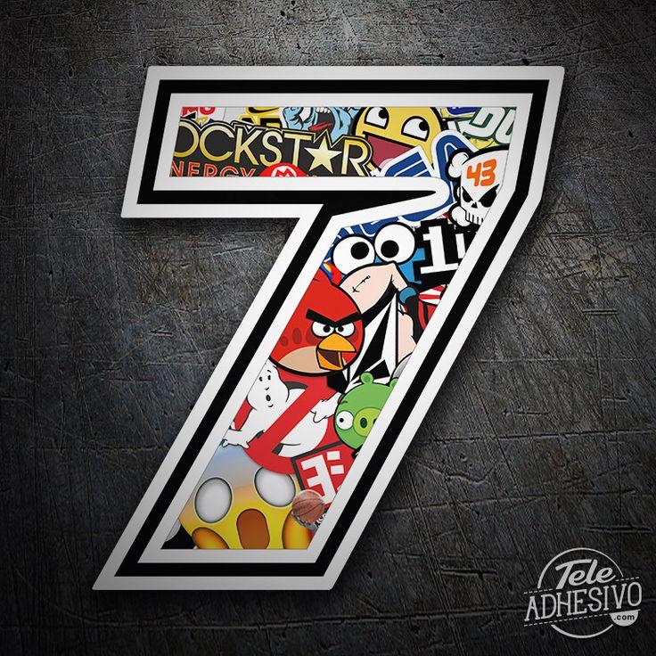 Pegatinas: Número 7 Speed Stickerbomb #pegatinas #numero #adhesivo #decoracion #moto #coche #TeleAdhesivo