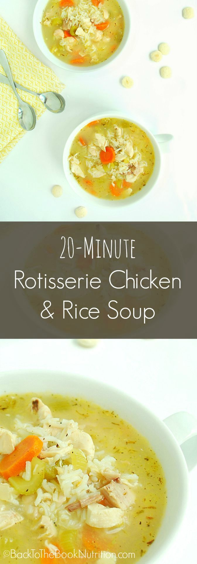 20 Min Rotisserie Chicken and Rice Soup | Back To The Book Nutrition